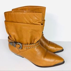 Nine West Lainey Leather Slouchy Buckled Boots